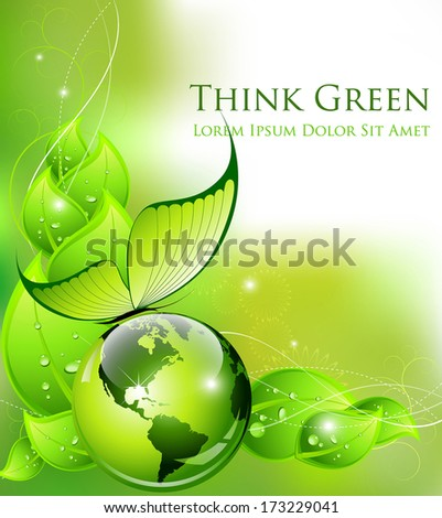 Think Green concept: environment and nature abstract composition - Vector illustration