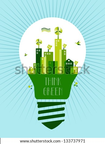 Think green concept illustration: green city in light bulb. Vector file layered for easy manipulation and custom coloring. - stock vector