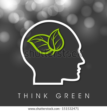 Think Green concept with a human head and green leaves.