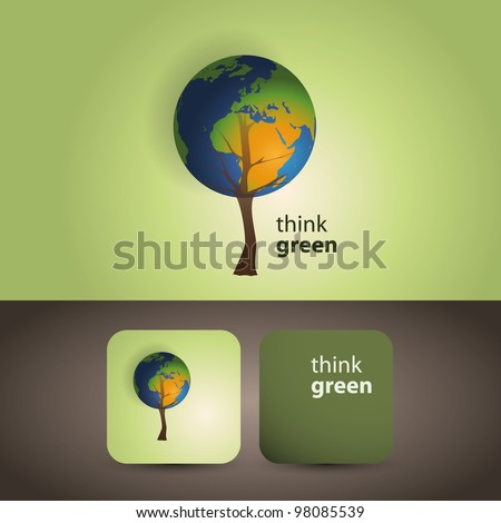 Think green - eco card - stock vector