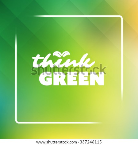 Think Green - Eco Card Design Template - stock vector
