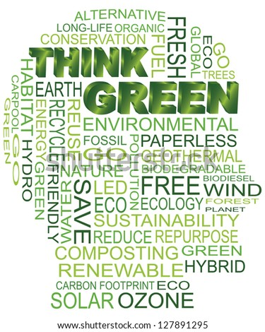 Think Green Eco Human Head Silhouette Word Cloud Isolated on White Background Illustration Vector - stock vector