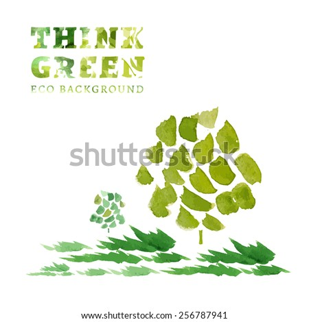 Think Green. Ecology Concept. The Illustration with environmentally friendly background. Hand drawn vector image.