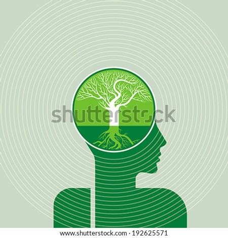 think green save earth - stock vector