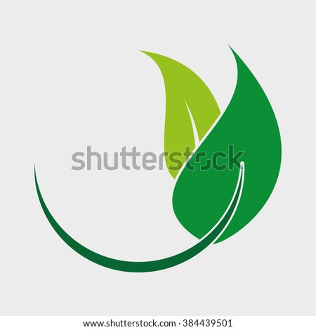 Think green. Seedling and leaf. - stock vector