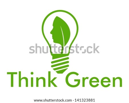 Think Green with leaf and human face into a bulb - stock vector