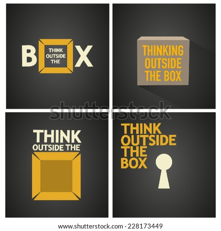 think outside the box vector poster - stock vector