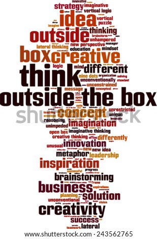 Think outside the box word cloud concept. Vector illustration - stock vector