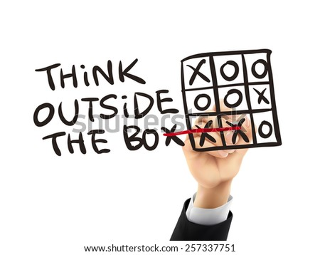 think outside the box written by hand on a transparent board - stock vector