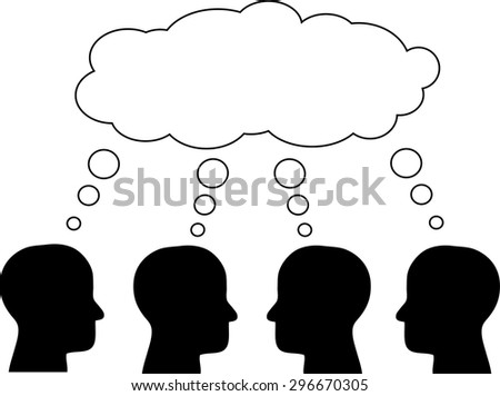 Think tank, several heads thinking about the same through the bubble. Vector.