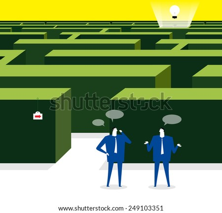 Thinking a way to get the idea - stock vector