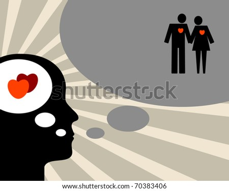 Thinking about love silhouette, abstract vector illustration - stock vector