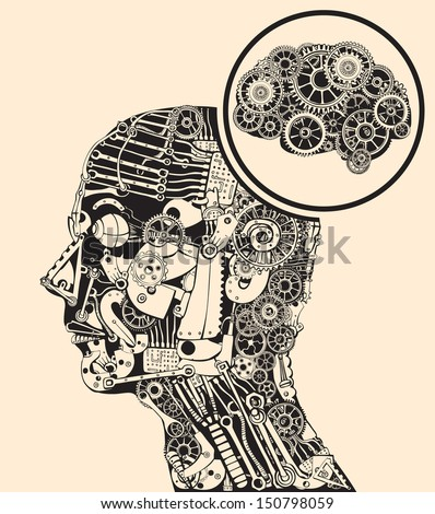 Thinking at the missing part. Gears mind. - stock vector