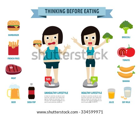 thinking before eating. illustration.wellness concept.vector flat icons graphic design. - stock vector