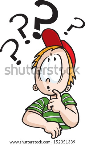 Thinking Boy A cartoon boy deep in thought. Vector and high resolution jpeg files available. - stock vector