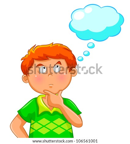 thinking boy (jpeg version is available in my gallery) - stock vector