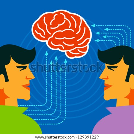 thinking brain concept - stock vector