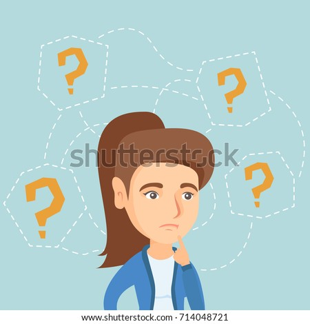 Thinking business woman standing under question marks. Young caucasian business woman thinking. Thinking business woman surrounded by question marks. Vector cartoon illustration. Square layout.