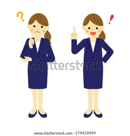 Thinking business woman / Vector EPS 10 illustration - stock vector