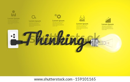 Thinking concept modern design template, Creative light bulb idea abstract infographic workflow layout, diagram, step up options, Vector illustration - stock vector
