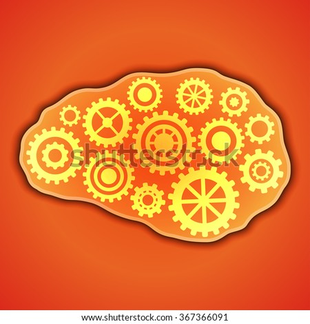 Thinking, creativity concept. Brains with gears inside it. Vector illustration. - stock vector