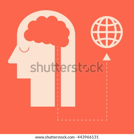 Thinking for earth. listen to your brain. Flat design for business financial marketing banking advertising commercial background minimal vector concept cartoon illustration. - stock vector