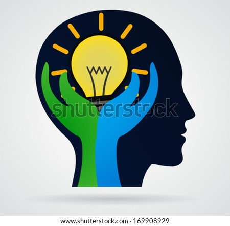 Thinking head. Palm with rays of light from the lamp, business concept, new idea - stock vector