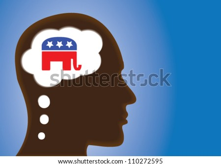 Thinking Head - silhouette thinking of Republican Political party symbol of United States of America in thought bubble. - stock vector