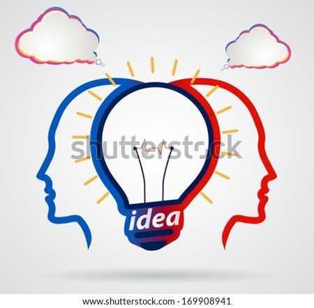 Thinking head with speech clouds, unity of thought, a new idea,partnership - stock vector