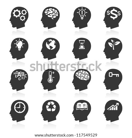 Thinking Heads Icons. vector eps 10 - stock vector