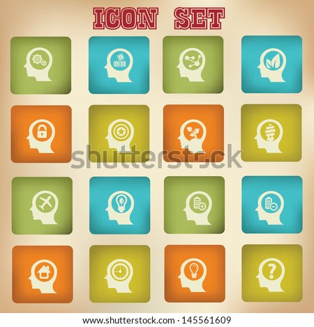 Thinking ideas vintage icons,Version 1,vector - stock vector