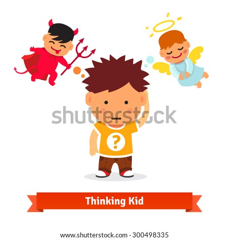 Thinking kid making tough choice between good and evil. Angel and devil advising him. Flat style vector illustration isolated on white background. - stock vector