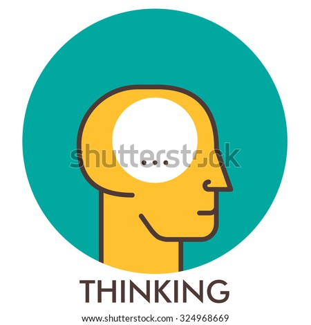 Thinking. Line icon with flat design elements. Flat icon. Flat Design. Icon concept.  - stock vector