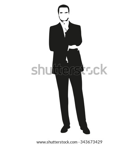 Thinking man in suit. Businessman vector silhouette.