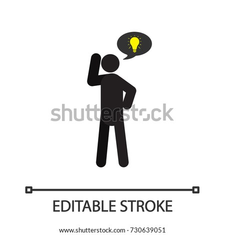 Thinking Man Silhouette Icon Person With Speech Bubble And Light Bulb Inside Isolated Vector