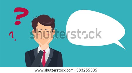 Thinking man with question mark. Cartoon vector illustration of asian businessman wondering and doubting.Eps 8 - stock vector