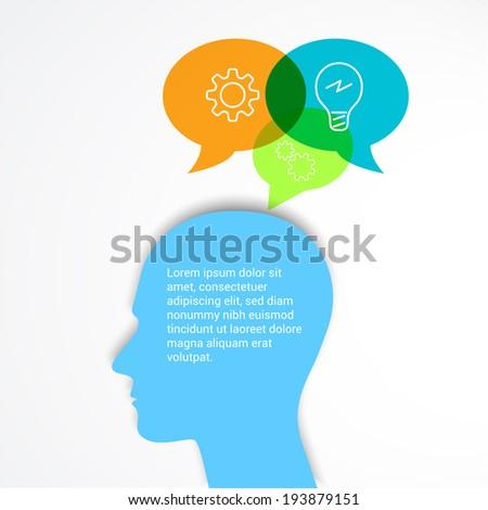 Thinking man with speech. Creative Idea.Vector illustration.  - stock vector