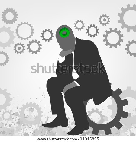 Thinking on the Solution - stock vector