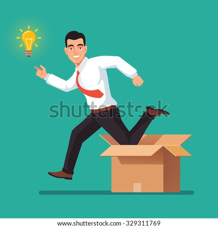 Thinking out of the box concept. Happy businessman jumping from carton towards new idea in form of glowing light bulb. Flat style vector illustration isolated on white background. - stock vector