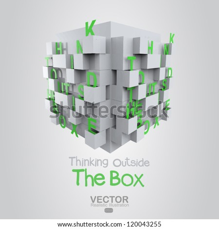 thinking outside the box as concept - stock vector