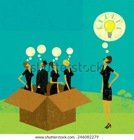 Thinking outside the box Business people thinking in the box and one independent thinker coming up with an idea outside of the box.The people and background are on separate labeled layers. - stock vector