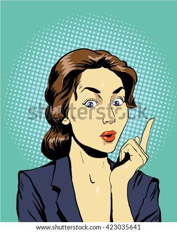 Thinking woman. Vector illustration in retro pop art comic style. - stock vector