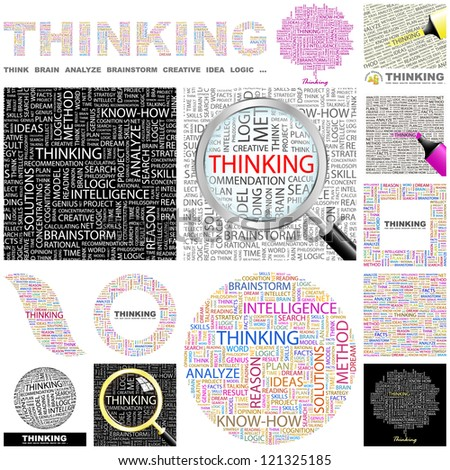 THINKING. Word collage. GREAT COLLECTION. - stock vector