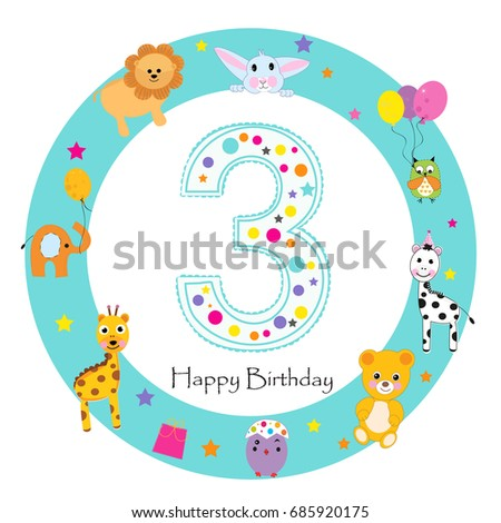 First Birthday Baby Greeting Card Happy Vector 685920169 – Baby First Birthday Card
