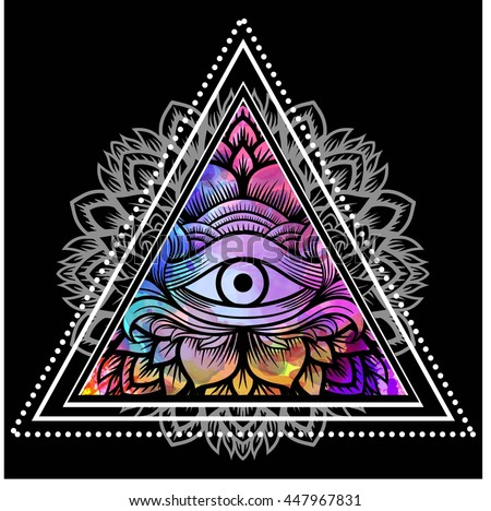 Third eye with floral mandala inside the triangle. Zentangle hand drawing Boho style. For adult coloring book and meditation relax. Watercolor, chalk, pastels, pencils texture. T-shirt design. Vector - stock vector