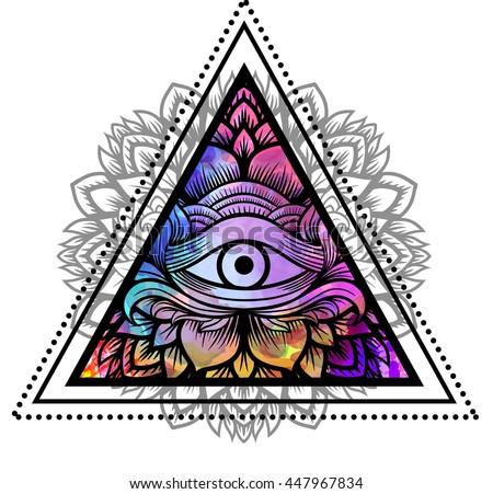 Triangle With Eye Tattoo Design