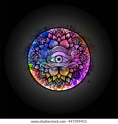 Third eye with floral mandala zentangle hand drawing line art Boho chic style. Best for adult coloring book and meditation relax. Watercolor, chalk, pastels, pencils texture. T-shirt design. Vector - stock vector
