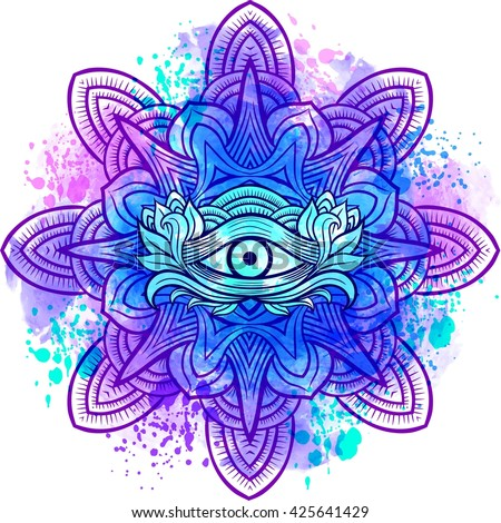 Third eye with mandala zentangle hand drawing style. Best for adult coloring book and meditation relax - stock vector