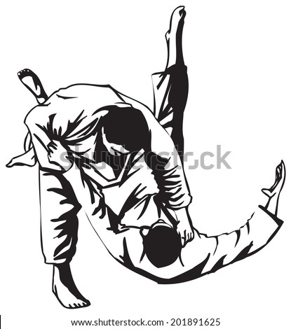 Third Judo fight stage five - stock vector