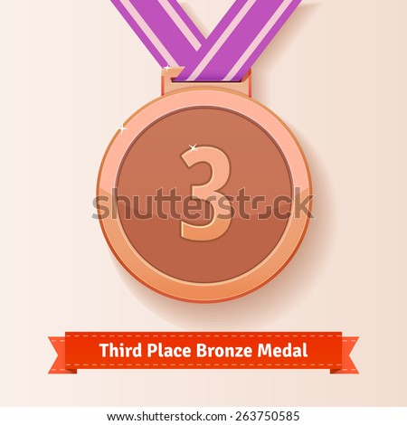 Third place award bronze medal with lilac ribbon. Vector icon. - stock vector